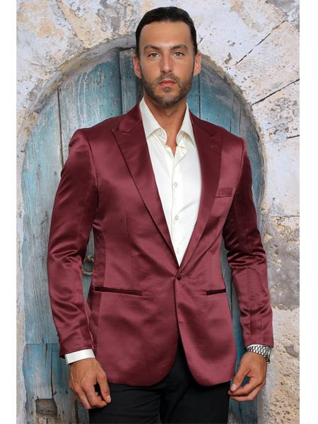 Product# SR33 Mens Shiny Flashy Satin Solid Blazer ~ Sport Coat  Burgundy  Available in 2 buttons Notch Lapel