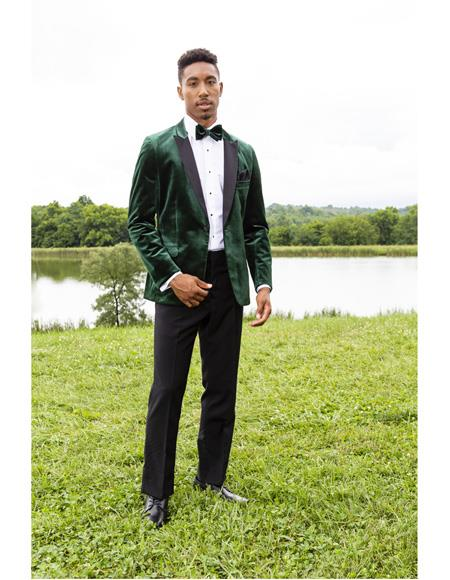 Mens Green Peak Lapel