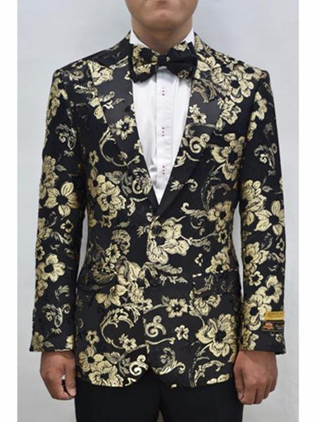 Alberto Nardoni Brand men's Gold & Black men's Prom Blazer ~ Suit Jacket Fashion Sport Coat Matching Bowtie Perfect For Prom Clothe - Prom Outfits For Guys