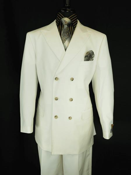Mens Button Closure Peak Lapel Cream Double Breasted Suit