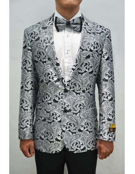 Mens Charcoal Paisley ~  Floral Paisley Blazer Sport Coat Perfect For Wedding & Prom Perfect For Prom Clothe - Prom Outfits For Guys