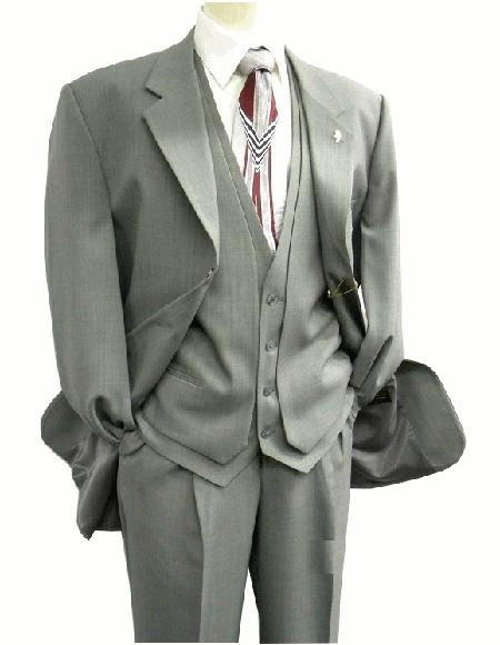 Product# 3420-001 OS Falcone Men's Gray Single Breasted Three Button  Vest Fabric Suit Notch Lapel