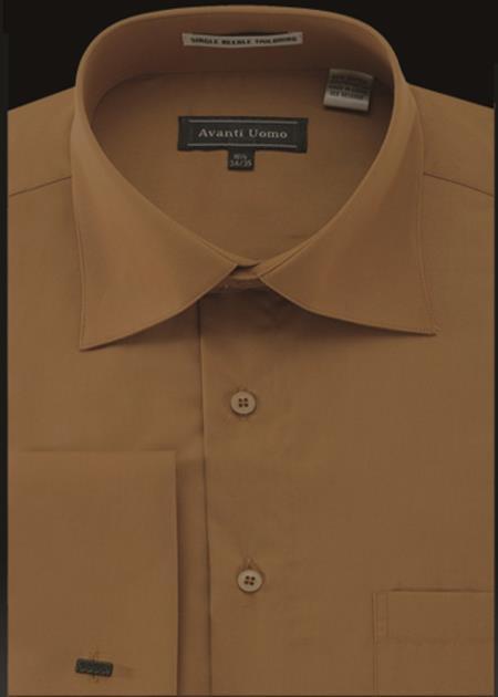 Product# JA483 Mens Avanti Uomo French Cuff Shirt Cappuccino