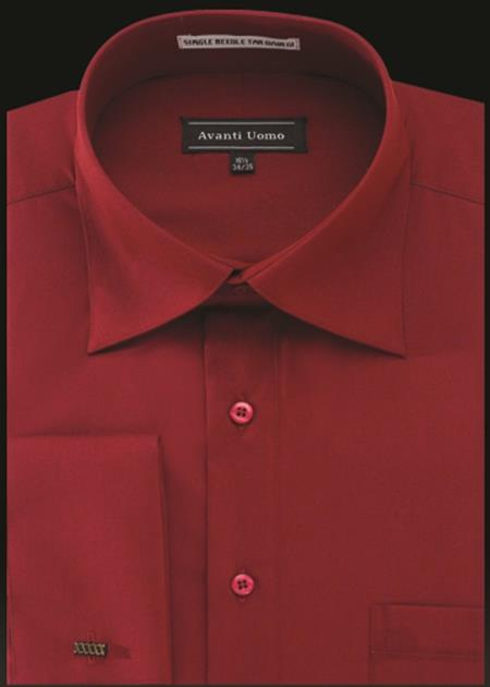 Product# JA485 Mens Avanti Uomo French Cuff Shirt Crimson