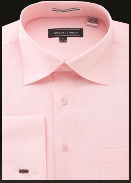Product# JA487 Mens Avanti Uomo French Cuff Shirt Pink
