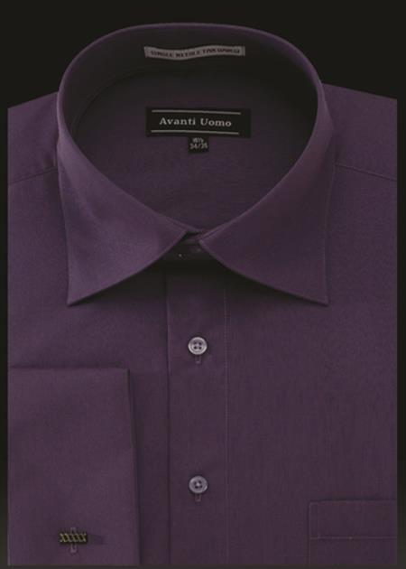 Product# JA488 Mens Avanti Uomo French Cuff Shirt Prune