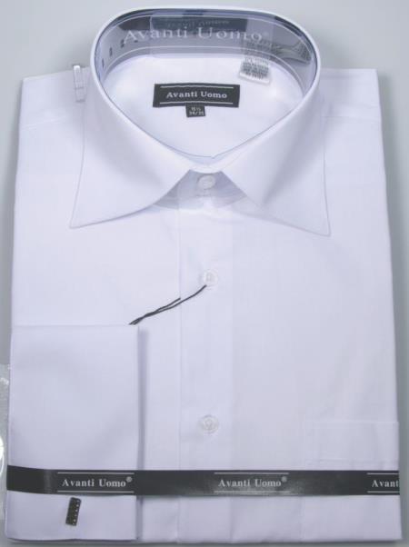 Product# JA491 Mens Avanti Uomo French Cuff Shirt White