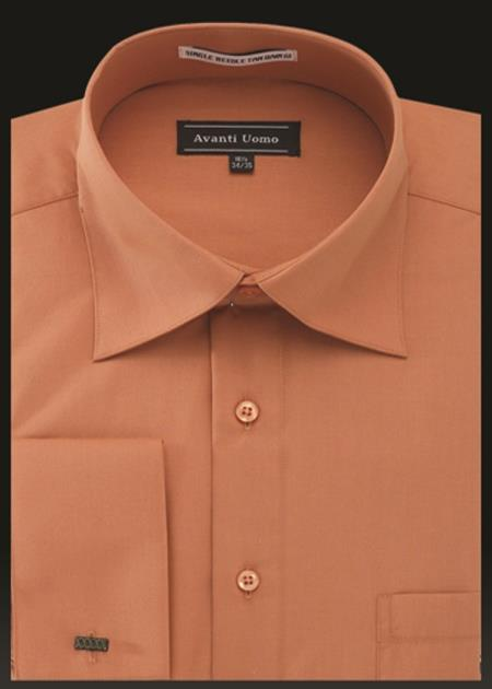 Product# JA492 Mens Avanti Uomo French Cuff Shirt Orange