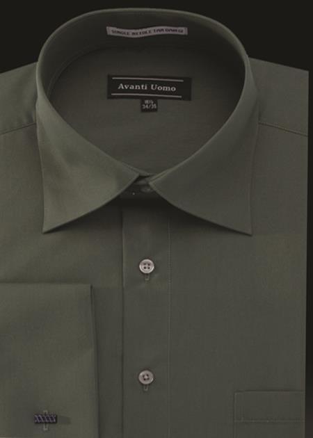 Product# JA494 Mens Avanti Uomo French Cuff Shirt Green