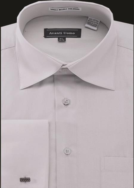 Product# JA497 Mens Avanti Uomo French Cuff Shirt Silver Gray