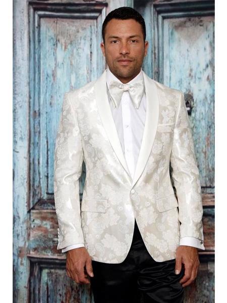 Product# SR73 Men's Single Breasted One Button Shawl Lapel Paisley Pattern White Tuxedo