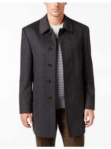 Product# SR75 Mens Five  Button Single Breasted Herringbone Wool Blend  Charcoal Overcoat