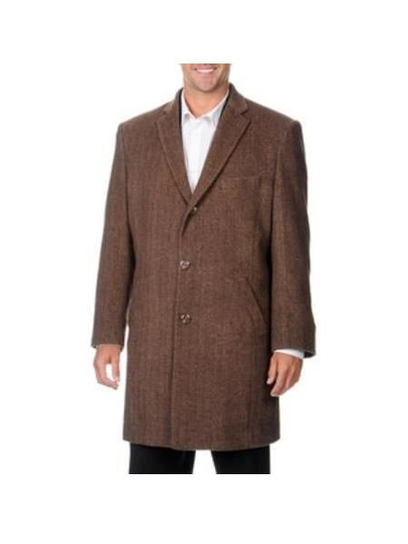 Product# SR87 Mens Single Breasted Notch Lapel Herringbone Wool Blend Brown CarCoat