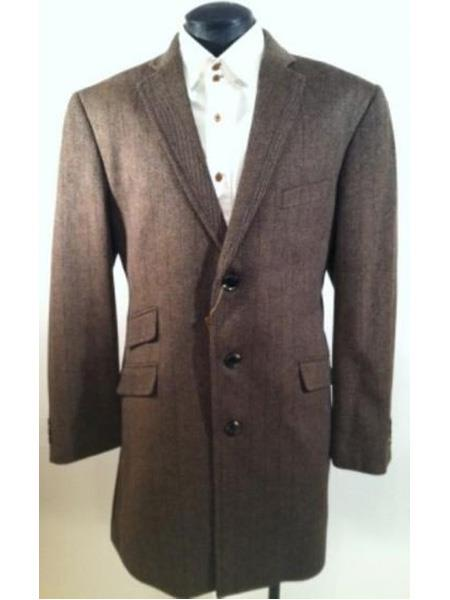 Product# SR88 Mens Single Breasted Three Button Herringbone Tweed Wool Blend  Taupe  Car Coat