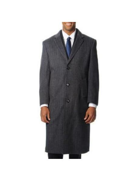 Product# SR94 Mens Three Button Notch Lapel Herringbone Tweed Cashmere Blend Grey Top Coat