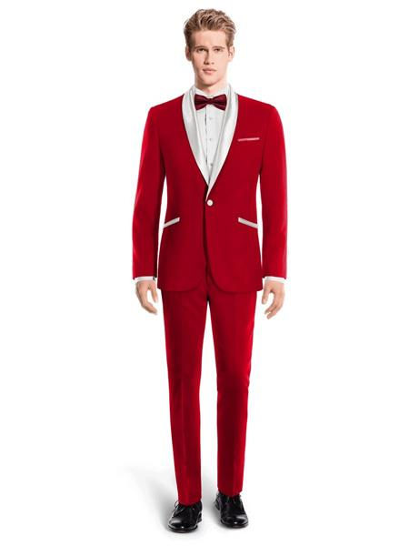 Product# SR97 Red and White Lapel Tuxedo Suit Shawl Collar With Vest Wedding / Prom / Stage