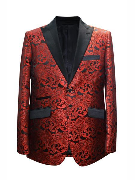Product# SR98 Alberto Nardoni Trendy Unique  Prom Blazers Sparkly Floral ~ Flower Two Toned Available Big Sizes Red + Matching Bow tie Perfect For Prom Clothe - Prom Outfits For Guys