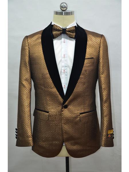 Copper ~ Brick ~ Rust Two Toned Paisley Floral Blazer Tuxedo Dinner Jacket Fashion Sport Coat