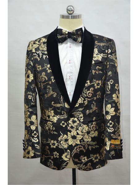 Product# Paisley-300 Black And Gold Two Toned Paisley Floral Blazer ~ Suit Jacket Tuxedo Dinner Jacket Fashion Sport Coat