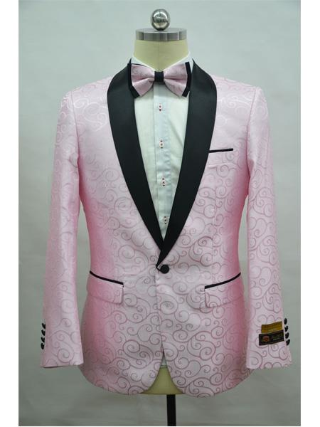Product# Paisley-300 Pink And Black Two Toned Paisley Floral Blazer Tuxedo Dinner Jacket Fashion Sport Coat