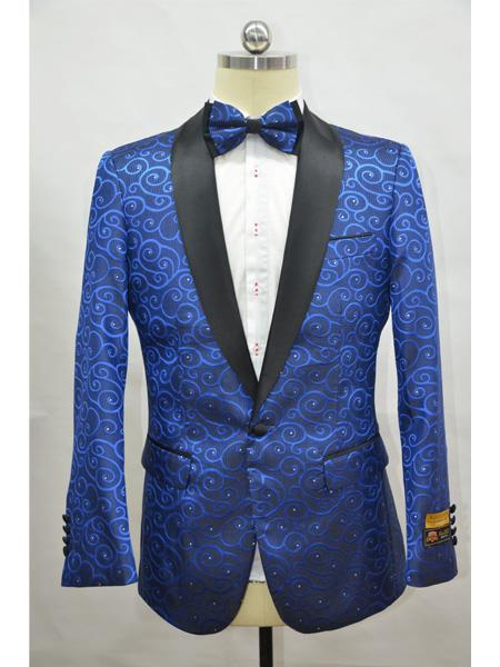 Product# Paisley-300 Royal And Black Two Toned Paisley Floral Blazer Tuxedo Dinner Jacket Fashion Sport Coat + Matching Bow Tie - Color : Royal Blue Tuxedos