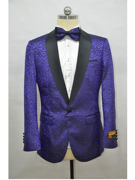 Purple and Black Two Toned Paisley Floral Blazer Black and Purple Tuxedo Dinner Jacket Fashion Sport Coat + Matching Bow Tie