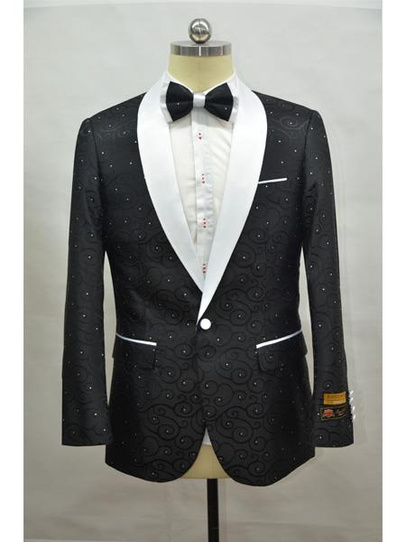Product# Paisley-300 Black And White Two Toned Paisley Floral Blazer Tuxedo Dinner Jacket Fashion Sport Coat