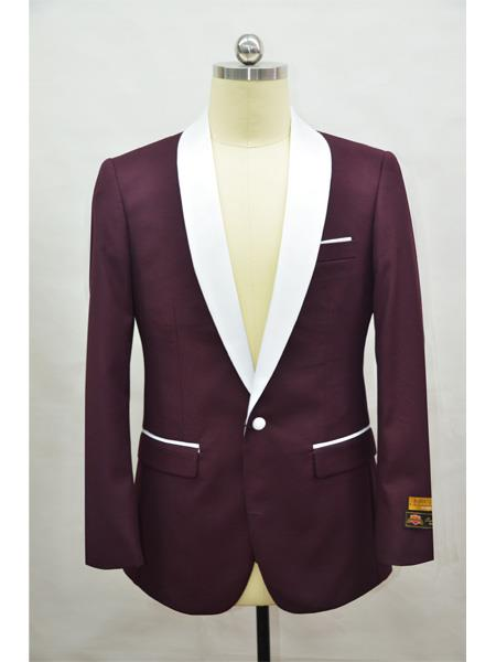 men's Blazer Burgundy ~ White