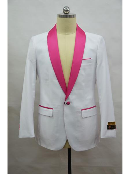 men's Blazer  White ~ Fuschia