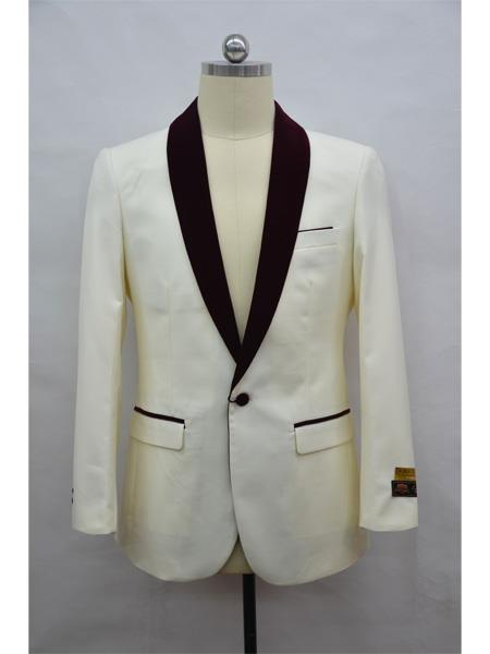 Mens Dinner Jacket Mens Blazer  Ivory ~ Burgundy