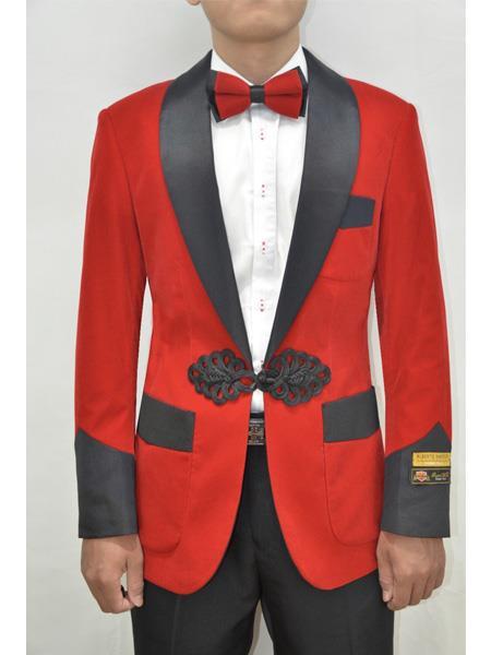 Product# SR143 Alberto Nardoni Dinner Smoking Jacket Blazer Sport Jacket Red ~ Mens Velvet Tuxedo Jacket ~ Velour Smoking Coat