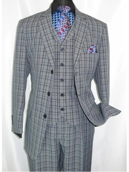 Product# 5802V6 1920's Style Plaid ~ Window ~ Checker Pane 2 Button Vested Suit 3 Piece 3 Button Mens Suits Pleated Pants  Navy