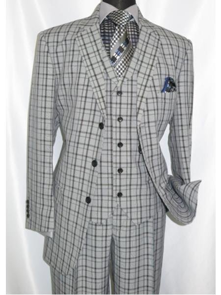 Product# 5802V6 1920's Style Plaid ~ Window ~ Checker Pane 2 Button Vested Suit 3 Piece 3 Button Mens Suits Pleated Pants Black ~ Grey