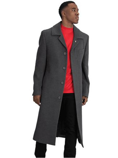 Product# SR161 Mens  Blu Martini Four Button  Wool Full Length Charcoal Overcoat