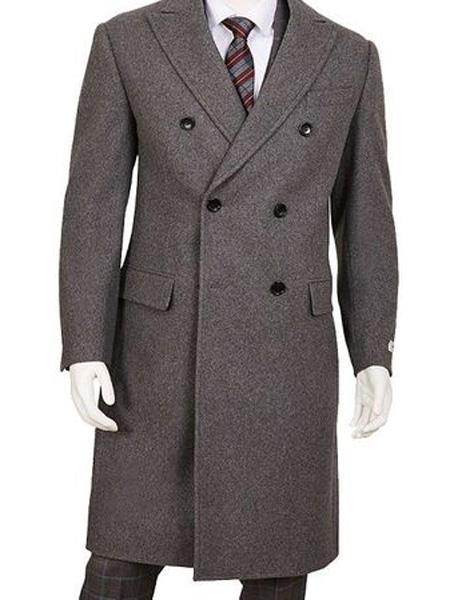 Product# SR164 Mens Gray Double Breasted Five Button Wool ~ Poly Blend Overcoat