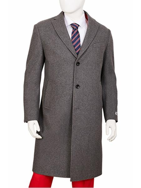 Product# SR167 Mens Single Breasted Notch Lapel Gray  Regular Fit Overcoat