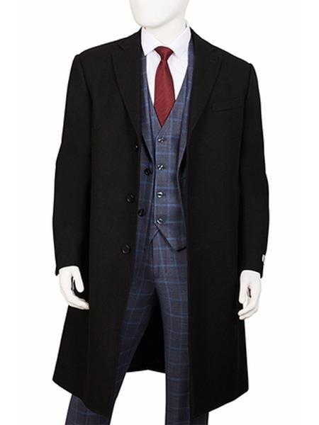 Product# SR168 Mens Three Button Notch Lapel  Wool ~ Poly Blend  Black Overcoat