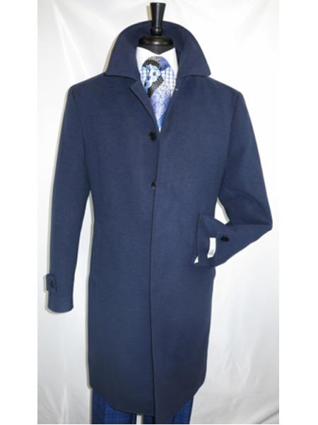 Mens Navy Covered Button