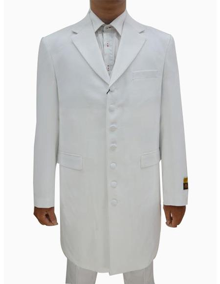 men's White Single Breasted Seven Button Zoot Suits