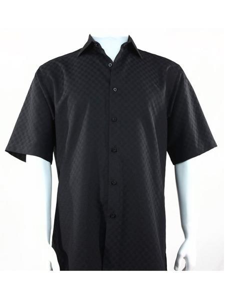 Product# SR251   Mens Bassiri Button Down Short Sleeve Shadow Squares Black  Shirt