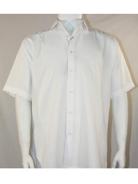 Product# SR257   Mens Bassiri Button Down Short Sleeve Shadow Squares White Shirt