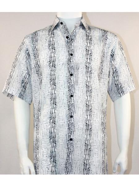 Product# SR258   Mens Bassiri Button Down Short Sleeve Pattern Stripe Black ~ White Shirt