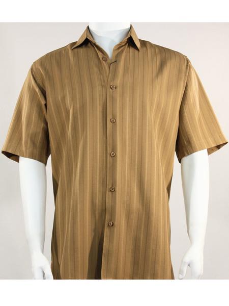 Product# SR263   Mens Bassiri Button Down Short Sleeve Shadow Stripe Light Brown Shirt