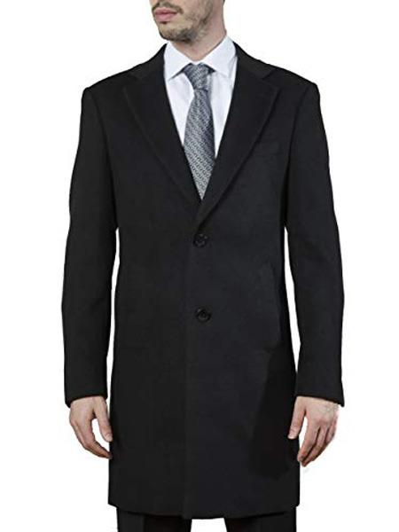 Product# SR267 Mens Single Breasted Modern Fit Polyester ~ Viscose ~  Spandex Black Topcoat