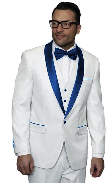 Product# JA506 Mens Alberto Nardoni White Tuxedo Dark Navy Blue Jacket Wedding ~ Prom Vested Suit