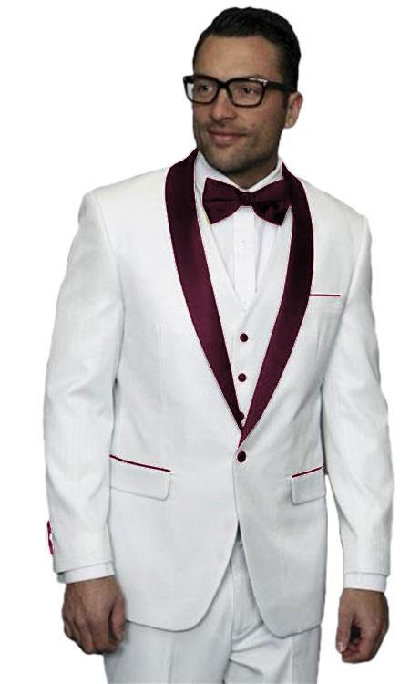 Product# JA507 Mens Alberto Nardoni White and Burgundy ~ Maroon ~ Wine Jacket Wedding ~ Prom Tuxedo