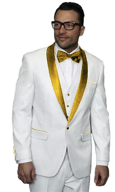 Product# JA509 Mens Alberto Nardoni White and Gold Tuxedo Jacket Vested Wedding ~ Prom Suit ( Jacket and Pants)  For Men