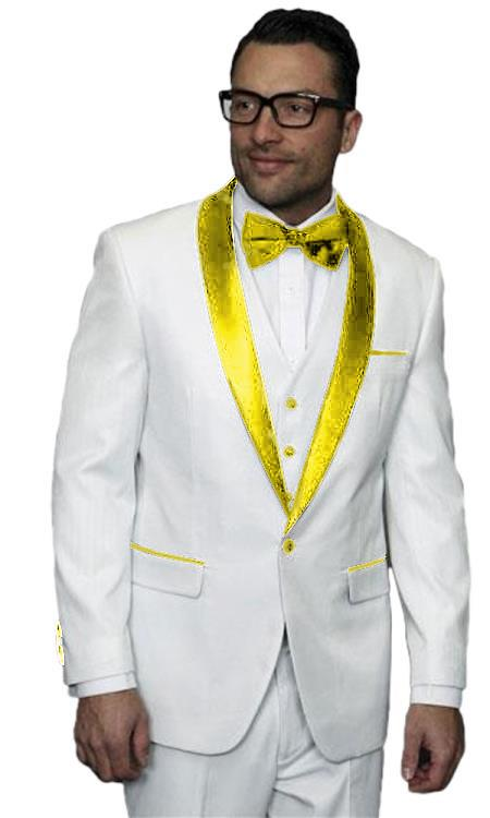 men's Alberto Nardoni White Tuxedo ~ Tux Gold ~ Yellow 3 Piece Jacket Vested Wedding Prom Suit ( Jacket and Pants)  For Men
