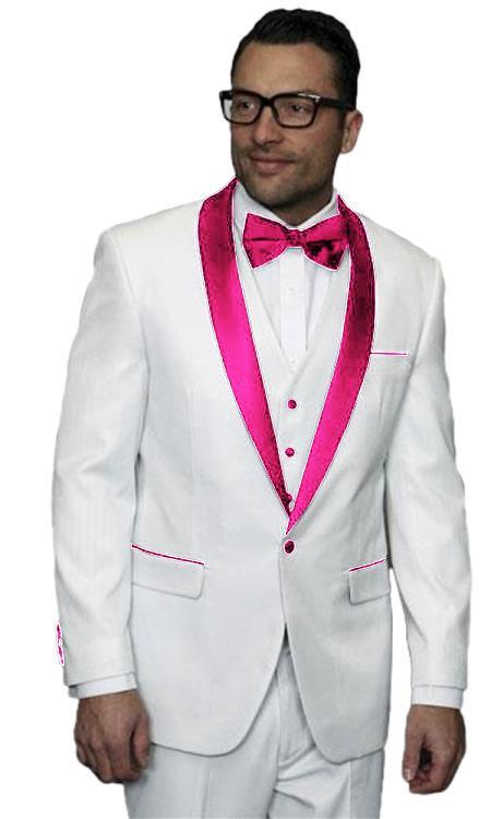 Product# JA513 Mens Alberto Nardoni White Pink Tuxedo Jacket Vested Wedding ~ Prom Wedding ~ Prom 3 Piece Suit ( Jacket and Pants)  For Men