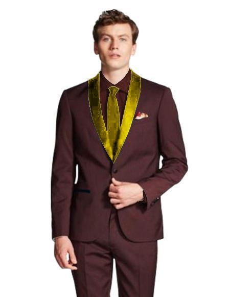 men's Dark Navy Blue Shawl Lapel Single Breasted Burgundy/Gold ~ Wine ~ Maroon Color Tuxedo